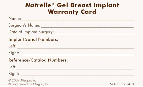 breast implant warranty